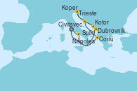 Visitando Civitavecchia (Roma), Corfú (Grecia), Split (Croacia), Trieste (Italia), Koper (Eslovenia), Dubrovnik (Croacia), Kotor (Montenegro), Nápoles (Italia), Civitavecchia (Roma)