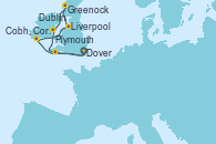 Visitando Dover (Inglaterra), Plymouth (Inglaterra), Cobh, Cork (Irlanda), Liverpool (Reino Unido), Greenock (Escocia), Dublin (Irlanda), Dover (Inglaterra)