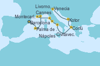Visitando Barcelona, Palma de Mallorca (España), Cannes (Francia), Montecarlo (Mónaco), Livorno, Pisa y Florencia (Italia), Civitavecchia (Roma), Nápoles (Italia), Corfú (Grecia), Kotor (Montenegro), Venecia (Italia), Venecia (Italia)