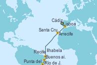 Visitando Lisboa (Portugal), Cádiz (España), Arrecife (Lanzarote/España), Santa Cruz de Tenerife (España), Recife (Brasil), Río de Janeiro (Brasil), Río de Janeiro (Brasil), Ilhabela (Brasil), Punta del Este (Uruguay), Buenos aires