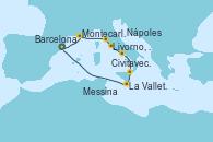Visitando Barcelona, Montecarlo (Mónaco), Livorno, Pisa y Florencia (Italia), Civitavecchia (Roma), Nápoles (Italia), Messina (Sicilia), La Valletta (Malta), Barcelona