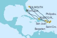 Visitando Fort Lauderdale (Florida/EEUU), PUERTO PLATA, REPUBLICA DOMINICANA, San Juan (Puerto Rico), Saint Croix (Islas Vírgenes), St. John's (Antigua), Basseterre (Antillas), Philipsburg (St. Maarten), Fort Lauderdale (Florida/EEUU)