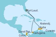 Visitando Fort Lauderdale (Florida/EEUU), Aruba (Antillas), Kralendijk (Antillas), Curacao (Antillas), Canal Panamá, Colón (Panamá), Cartagena de Indias (Colombia), Fort Lauderdale (Florida/EEUU)