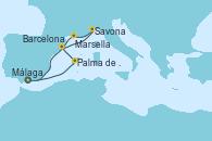Visitando Málaga, Palma de Mallorca (España), Barcelona, Savona (Italia), Marsella (Francia), Málaga