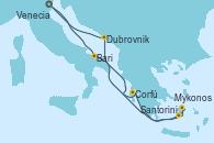 Visitando Venecia (Italia), Bari (Italia), Corfú (Grecia), Santorini (Grecia), Mykonos (Grecia), Dubrovnik (Croacia), Venecia (Italia)