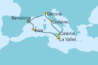 Visitando Barcelona, Ibiza (España), La Valletta (Malta), Catania (Sicilia), Civitavecchia (Roma), Génova (Italia), Barcelona