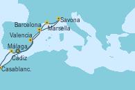 Visitando Málaga, Cádiz (España), Casablanca (Marruecos), Casablanca (Marruecos), Valencia, Barcelona, Savona (Italia), Marsella (Francia), Málaga