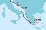 Visitando Venecia (Italia), Split (Croacia), Kotor (Montenegro), Katakolon (Olimpia/Grecia), Atenas (Grecia), Bari (Italia), Venecia (Italia)