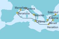 Visitando Savona (Italia), Nápoles (Italia), Catania (Sicilia), Heraklion (Creta), Esmirna (Turquía), Estambul (Turquía), Estambul (Turquía), Atenas (Grecia), Barcelona, Marsella (Francia), Savona (Italia)