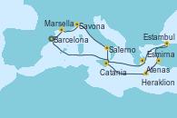 Visitando Barcelona, Marsella (Francia), Savona (Italia), Salerno (Italia), Catania (Sicilia), Heraklion (Creta), Esmirna (Turquía), Estambul (Turquía), Estambul (Turquía), Atenas (Grecia), Barcelona