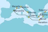 Visitando Barcelona, Marsella (Francia), Savona (Italia), Nápoles (Italia), Catania (Sicilia), Heraklion (Creta), Esmirna (Turquía), Estambul (Turquía), Estambul (Turquía), Atenas (Grecia), Barcelona