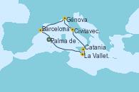 Visitando Palma de Mallorca (España), La Valletta (Malta), Catania (Sicilia), Civitavecchia (Roma), Génova (Italia), Barcelona, Palma de Mallorca (España)