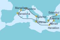 Visitando Savona (Italia), Salerno (Italia), Catania (Sicilia), Heraklion (Creta), Esmirna (Turquía), Estambul (Turquía), Estambul (Turquía), Atenas (Grecia), Barcelona, Marsella (Francia), Savona (Italia)