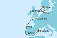 Visitando Kiel (Alemania), Copenhague (Dinamarca), Kristiansand (Noruega), Le Havre (Francia), Vigo (España), Cádiz (España), Barcelona