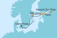 Visitando Copenhague (Dinamarca), Estocolmo (Suecia), Tallin (Estonia), San Petersburgo (Rusia), Helsinki (Finlandia), Copenhague (Dinamarca)