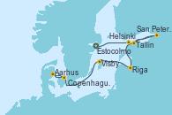 Visitando Estocolmo (Suecia), Estocolmo (Suecia), Helsinki (Finlandia), San Petersburgo (Rusia), San Petersburgo (Rusia), San Petersburgo (Rusia), Tallin (Estonia), Riga (Letonia), Visby (Suecia), Aarhus (Dinamarca), Copenhague (Dinamarca)