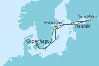Visitando Copenhague (Dinamarca), Estocolmo (Suecia), Helsinki (Finlandia), San Petersburgo (Rusia), Copenhague (Dinamarca)