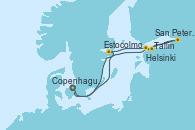Visitando Copenhague (Dinamarca), Estocolmo (Suecia), Helsinki (Finlandia), San Petersburgo (Rusia), San Petersburgo (Rusia), Tallin (Estonia), Copenhague (Dinamarca)