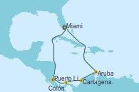 Visitando Miami (Florida/EEUU), Puerto Limón (Costa Rica), Colón (Panamá), Cartagena de Indias (Colombia), Aruba (Antillas), Aruba (Antillas), Miami (Florida/EEUU)
