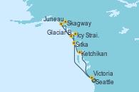 Visitando Seattle (Washington/EEUU), Sitka (Alaska), Icy Strait Point (Alaska), Glaciar Bay (Alaska), Skagway (Alaska), Juneau (Alaska), Ketchikan (Alaska), Victoria (Canadá), Seattle (Washington/EEUU)