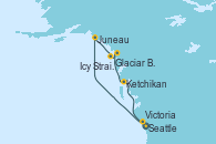Visitando Seattle (Washington/EEUU), Juneau (Alaska), Glaciar Bay (Alaska), Icy Strait Point (Alaska), Ketchikan (Alaska), Victoria (Canadá), Seattle (Washington/EEUU)