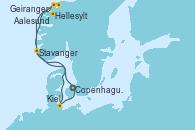 Visitando Copenhague (Dinamarca), Hellesylt (Noruega), Geiranger (Noruega), Aalesund (Noruega), Stavanger (Noruega), Kiel (Alemania), Copenhague (Dinamarca)