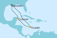 Visitando Galveston (Texas), Yucatán (Progreso/México), Cozumel (México), Galveston (Texas)