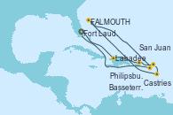 Visitando Fort Lauderdale (Florida/EEUU), Labadee (Haiti), San Juan (Puerto Rico), Philipsburg (St. Maarten), Castries (Santa Lucía/Caribe), St. John's (Antigua), Basseterre (Antillas), Fort Lauderdale (Florida/EEUU)