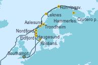 Visitando Southampton (Inglaterra), Haugesund (Noruega), Trondheim (Noruega), Crucero por el Glaciar Svartisen, Leknes (Noruega), Honningsvag (Noruega), Honningsvag (Noruega), Hammerfest (Noruega), Aalesund (Noruega), Nordfjordeid, Eidfjord (Hardangerfjord/Noruega), Kristiansand (Noruega), Southampton (Inglaterra)