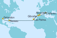 Visitando Civitavecchia (Roma), Alicante (España), Gibraltar (Inglaterra), Las Palmas de Gran Canaria (España), Nassau (Bahamas), Galveston (Texas)