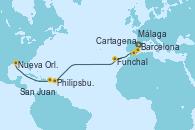 Visitando Barcelona, Cartagena (Murcia), Málaga, Funchal (Madeira), Philipsburg (St. Maarten), San Juan (Puerto Rico), Nueva Orleans (Luisiana)