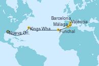 Visitando Nueva Orleans (Luisiana), Kings Wharf (Bermudas), Funchal (Madeira), Málaga, Valencia, Barcelona