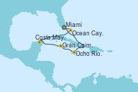 Visitando Miami (Florida/EEUU), Ocho Ríos (Jamaica), Gran Caimán (Islas Caimán), Costa Maya (México), Ocean Cay MSC Marine Reserve (Bahamas), Miami (Florida/EEUU)
