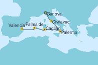 Visitando Génova (Italia), Civitavecchia (Roma), Palermo (Italia), Cagliari (Cerdeña), Palma de Mallorca (España), Valencia