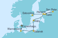 Visitando Copenhague (Dinamarca), Warnemunde (Alemania), Gdansk (Polonia), Gdansk (Polonia), Visby (Suecia), Helsinki (Finlandia), Helsinki (Finlandia), San Petersburgo (Rusia), San Petersburgo (Rusia), San Petersburgo (Rusia), Tallin (Estonia), Estocolmo (Suecia), Estocolmo (Suecia)
