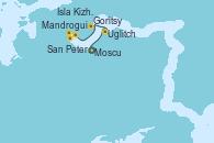 Visitando Moscu (Rusia), Moscu (Rusia), Uglitch (Rusia), Goritsy (Rusia), Isla Kizhi (Rusia), Mandrogui (Rusia), San Petersburgo (Rusia), San Petersburgo (Rusia)
