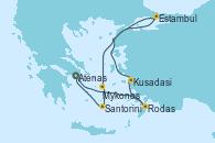 Visitando Atenas (Grecia), Rodas (Grecia), Kusadasi (Efeso/Turquía), Estambul (Turquía), Mykonos (Grecia), Santorini (Grecia), Atenas (Grecia)