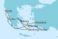 Visitando Atenas (Grecia), Rodas (Grecia), Kusadasi (Efeso/Turquía), Mykonos (Grecia), Cefalonia (Grecia), Corfú (Grecia), Santorini (Grecia), Atenas (Grecia)