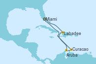 Visitando Miami (Florida/EEUU), Labadee (Haiti), Aruba (Antillas), Curacao (Antillas), Miami (Florida/EEUU)