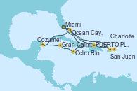 Visitando Miami (Florida/EEUU), San Juan (Puerto Rico), San Juan (Puerto Rico), Charlotte Amalie (St. Thomas), PUERTO PLATA, REPUBLICA DOMINICANA, Ocean Cay MSC Marine Reserve (Bahamas), Miami (Florida/EEUU), Ocho Ríos (Jamaica), Gran Caimán (Islas Caimán), Cozumel (México), Ocean Cay MSC Marine Reserve (Bahamas), Miami (Florida/EEUU)