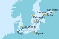 Visitando Kiel (Alemania), Copenhague (Dinamarca), Estocolmo (Suecia), Visby (Suecia), Helsinki (Finlandia), San Petersburgo (Rusia), San Petersburgo (Rusia), Tallin (Estonia), Gdynia (Polonia), Kiel (Alemania)