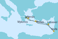 Visitando Atenas (Grecia), Mykonos (Grecia), Haifa (Israel), Limassol (Chipre), Rodas (Grecia), Atenas (Grecia)