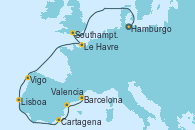 Visitando Hamburgo (Alemania), Southampton (Inglaterra), Le Havre (Francia), Vigo (España), Lisboa (Portugal), Cartagena (Murcia), Valencia, Barcelona