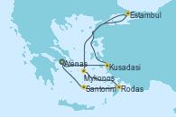 Visitando Atenas (Grecia), Kusadasi (Efeso/Turquía), Estambul (Turquía), Mykonos (Grecia), Rodas (Grecia), Santorini (Grecia), Atenas (Grecia)