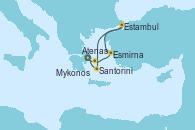 Visitando Atenas (Grecia), Atenas (Grecia), Mykonos (Grecia), Esmirna (Turquía), Estambul (Turquía), Santorini (Grecia), Atenas (Grecia)