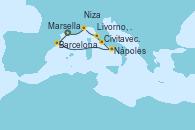 Visitando Marsella (Francia), Barcelona, Nápoles (Italia), Civitavecchia (Roma), Livorno, Pisa y Florencia (Italia), Niza (Francia), Marsella (Francia)