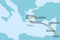 Visitando Atenas (Grecia), Kusadasi (Efeso/Turquía), Ashdod (Israel), Haifa (Israel), Limassol (Chipre), Santorini (Grecia), Atenas (Grecia)