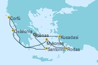 Visitando Atenas (Grecia), Kusadasi (Efeso/Turquía), Rodas (Grecia), Mykonos (Grecia), Cefalonia (Grecia), Corfú (Grecia), Santorini (Grecia), Atenas (Grecia)