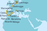 Visitando Copenhague (Dinamarca), Fredericia (Dinamarca), Warnemunde (Alemania), Zeebrugge (Bruselas), El Ferrol (Galicia/España), Puerto Leixões (Portugal), Lisboa (Portugal), Lisboa (Portugal), Cádiz (España), Málaga, Alicante (España), Palma de Mallorca (España), Barcelona, Génova (Italia)