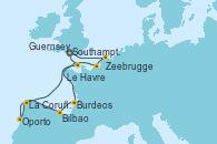 Visitando Southampton (Inglaterra), Zeebrugge (Bruselas), Le Havre (Francia), Burdeos (Francia), Bilbao (España), La Coruña (Galicia/España), Guernsey (Channel Islands), Southampton (Inglaterra)